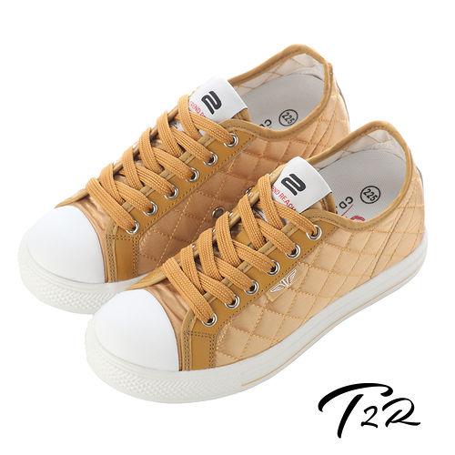 【T2R】7cm-UP 菱格氣墊隱形增高鞋 耀眼金(5600-0150)