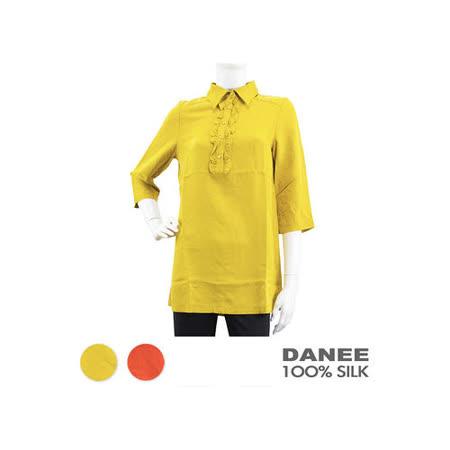 岱妮蠶絲 - (GL30152)女前胸花邊長版上衣 / 黃褐色