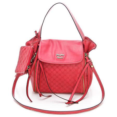 PLAYBOY-G-Gorgeous系列雙拉鍊2WAY包-紅色