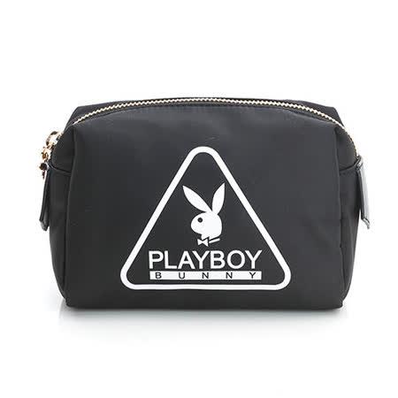 PLAYBOY- Triangle 個性三角系列 化妝包-百搭黑