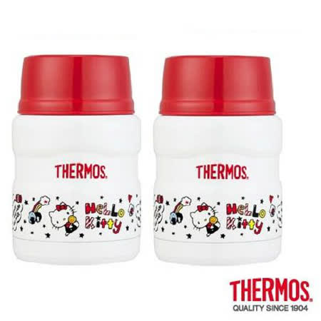 THERMOS 膳魔師不鏽鋼真空保溫食物罐(燜燒罐) 0.47L KITTY限定版 2入組