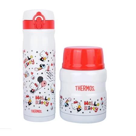 THERMOS膳魔師 不鏽鋼真空保溫食物罐0.47L+保溫瓶0.5L 2入組(SK-3000KT+JMY-501KT-WH)