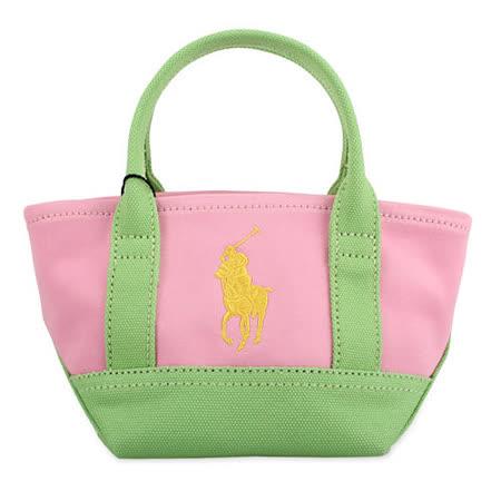 POLO Ralph Lauren 新款經典logo撞色帆布迷你手提托特包-粉紅色