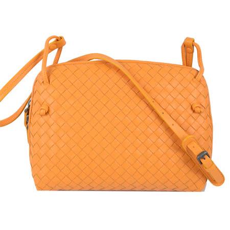 BOTTEGA VENETA 純手工小羊皮編織斜背包.橙橘