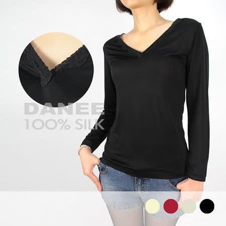 岱妮蠶絲 - (6C30601)V領小蕾絲長袖衛生衣 / 黑