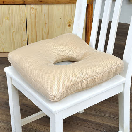 【格藍傢飾】透氣舒壓健康中空坐墊(亞麻金)-2入