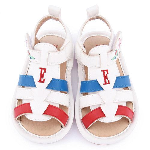 ELLE 小童 編織繫帶寶寶涼鞋ELKK50599~白