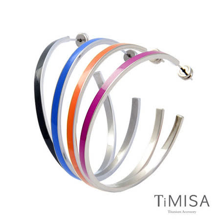 【TiMISA】活力漾彩(5色可選) 純鈦耳環一對