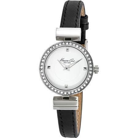 Kenneth Cole 純情瑪莉珍時尚氣質腕錶-銀框x黑色皮帶