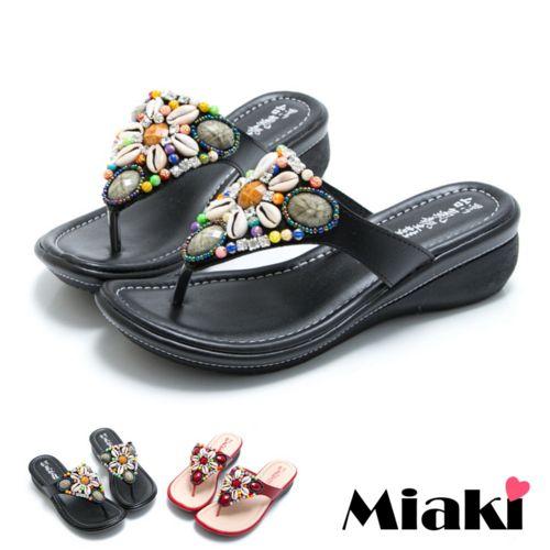 ~Miaki~MIT 涼鞋厚底串珠人字夾腳拖鞋 ^(黑色紅色^)