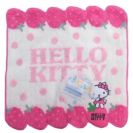 【波克貓哈日網】Hello kitty 凱蒂貓小方巾◇草莓圖案◇《22 x 23cm》