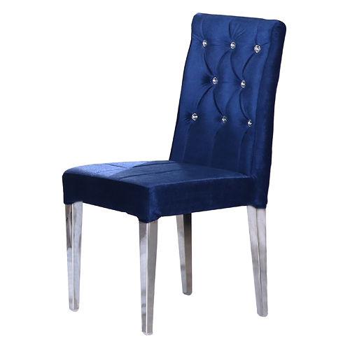巴特萊藍色絨布餐椅