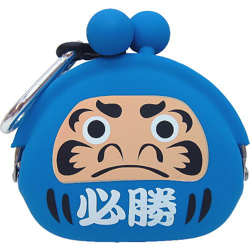 ~波克貓哈日網~和風鑰匙圈零錢包~達摩圖案~~藍色必勝~