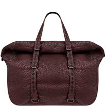 BOTTEGA VENETA 編織小羊皮波士頓包-大型(紅棕色)