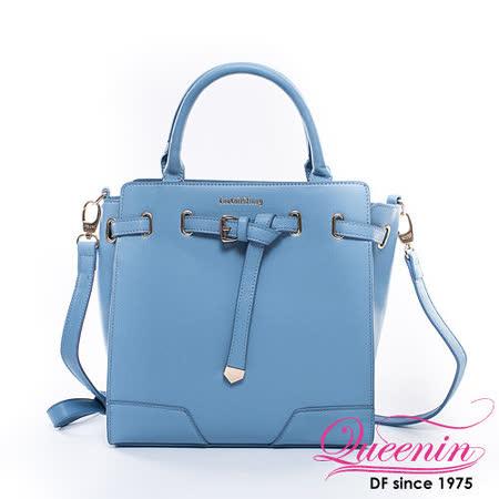 DF Queenin日韓 - 韓版摩登立體皮帶質感手提包-粉嫩藍
