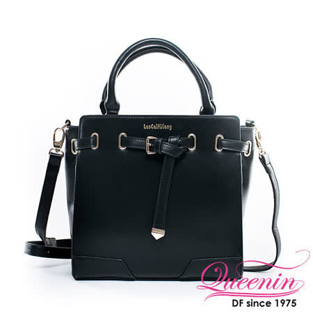 0DF Queenin日韓 - 韓版摩登立體皮帶質感手提包-時尚黑