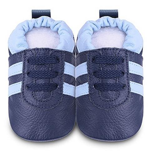英國 shooshoos 安全無毒真皮手工鞋/學步鞋/嬰兒鞋_海軍藍/湛藍鞋帶運動型 (公司貨)