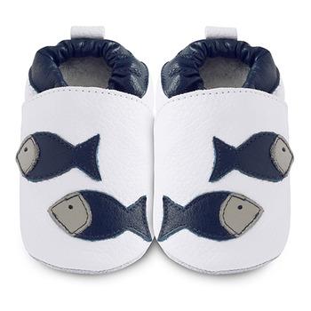 英國 shooshoos 安全無毒真皮手工鞋/學步鞋/嬰兒鞋_海軍藍魚兒游玩(公司貨)