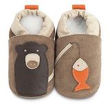 英國 shooshoos 安全無毒真皮手工鞋/學步鞋/嬰兒鞋_棕熊釣魚(公司貨)