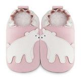 英國 shooshoos 安全無毒真皮手工鞋/學步鞋/嬰兒鞋_淡粉/北極熊(公司貨)
