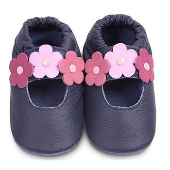 英國 shooshoos 安全無毒真皮手工鞋/學步鞋/嬰兒鞋_海軍藍三朵小花(公司貨)