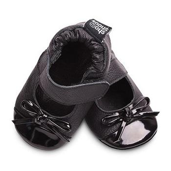 英國 shooshoos 安全無毒真皮手工鞋/學步鞋/嬰兒鞋_黑色蝴蝶芭蕾(公司貨)