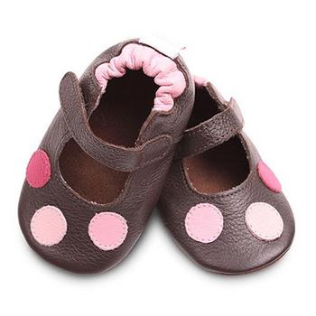 英國 shooshoos 安全無毒真皮手工鞋/學步鞋/嬰兒鞋_棕色普普(公司貨)