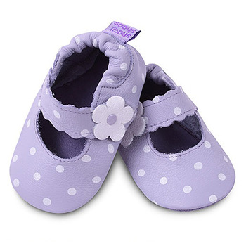英國 shooshoos 安全無毒真皮手工鞋/學步鞋/嬰兒鞋_紫色小花點點 (公司貨)