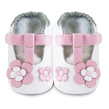 英國 shooshoos 安全無毒真皮手工鞋/學步鞋/嬰兒鞋_糖果粉玫瑰花瓣(公司貨)