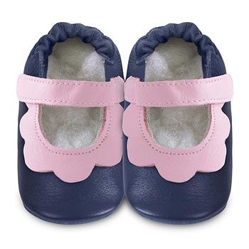 英國 shooshoos 安全無毒真皮手工鞋/學步鞋/嬰兒鞋_海軍藍/粉荷葉(公司貨)
