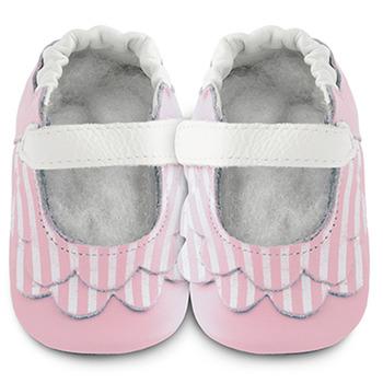 英國 shooshoos 安全無毒真皮手工鞋/學步鞋/嬰兒鞋_淡粉荷葉條紋(公司貨)