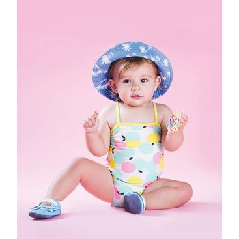 英國 shooshoos 安全無毒真皮手工鞋/學步鞋/嬰兒鞋_湛藍荷葉條紋(公司貨)