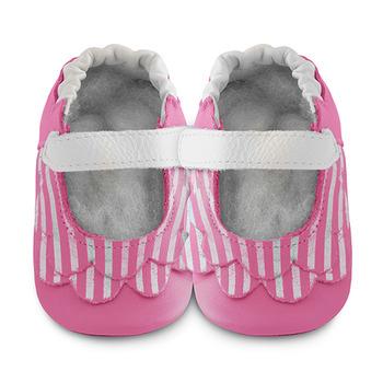 英國 shooshoos 安全無毒真皮手工鞋/學步鞋/嬰兒鞋_糖果粉荷葉條紋(公司貨)