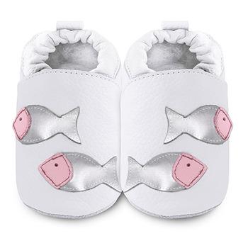 英國 shooshoos 安全無毒真皮手工鞋/學步鞋/嬰兒鞋_銀白魚兒游玩(公司貨)