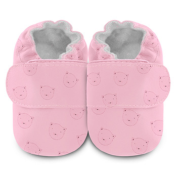 英國 shooshoos 安全無毒真皮手工鞋/學步鞋/嬰兒鞋_與貓野餐(公司貨)