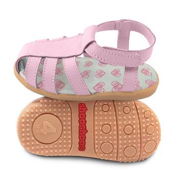 英國 shooshoos 健康無毒真皮手工學步鞋/童鞋_淡粉羅馬涼鞋(公司貨)
