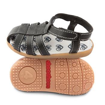 英國 shooshoos 健康無毒真皮手工學步鞋/童鞋_黑色羅馬涼鞋(公司貨)