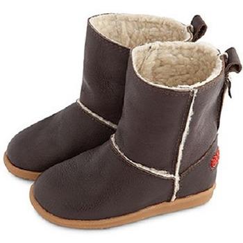 英國 shooshoos 健康無毒真皮手工學步鞋/童鞋_棕色真皮長靴(公司貨)