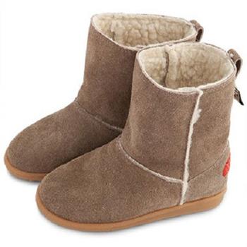 英國 shooshoos 健康無毒真皮手工學步鞋/童鞋_大地色麂皮中筒靴(公司貨)