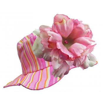 美國Jamie Rae 100%純棉帽_糖果粉條紋遮陽帽+糖果粉大牡丹 (JRSHPPS01)