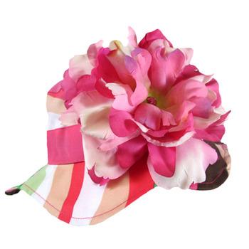 美國Jamie Rae 100%純棉帽_寬粉條紋遮陽帽+粉覆盆子大牡丹 (JRSHPMS01)
