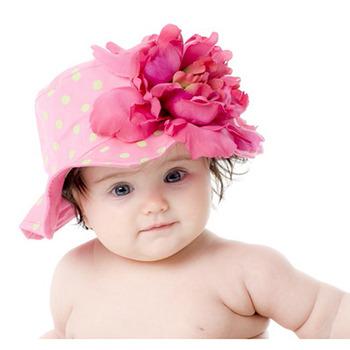 美國Jamie Rae 100%純棉帽_糖果粉點點遮陽帽+覆盆子牡丹(JRSHPPD02)
