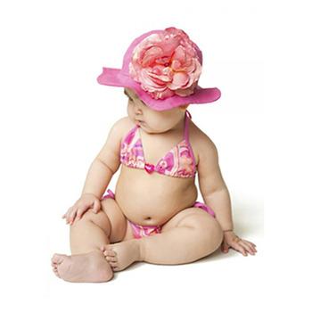 美國Jamie Rae 100%純棉帽_淡粉遮陽帽+糖果粉玫瑰 (JRSHRP01)