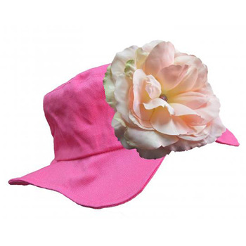 美國Jamie Rae 100%純棉帽_覆盆子遮陽帽+淡粉玫瑰 (JRSHRR02)