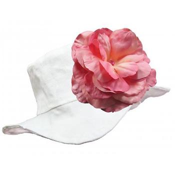 美國Jamie Rae 100%純棉帽_優雅白遮陽帽+糖果粉玫瑰 (JRSHRW02)