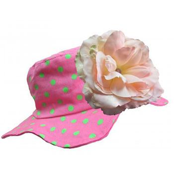 美國Jamie Rae 100%純棉帽_糖果粉點點遮陽帽+溫柔粉玫瑰(JRSHRPD02)