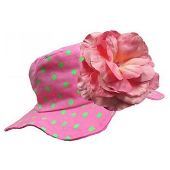美國Jamie Rae 100%純棉帽_糖果粉點點遮陽帽+糖果粉玫瑰(JRSHRPD01)