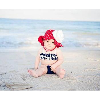 美國Jamie Rae 100%純棉帽_紅色白點點遮陽帽+優雅白玫瑰 (JRSHRRD01)