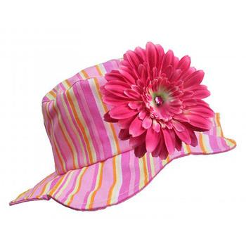 美國Jamie Rae 100%純棉帽_糖果粉條紋遮陽帽+糖果粉雛菊 (JRSHDPS01)