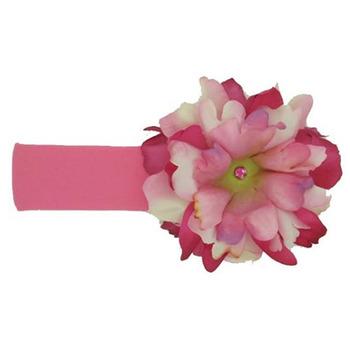 美國Jamie Rae 100%純棉髮帶_糖果粉寬髮帶+粉覆盆子小牡丹 (JRHBP02)